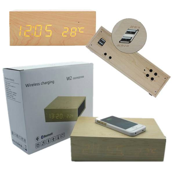 Business Gift LED Table Clock QI Charger and Speaker