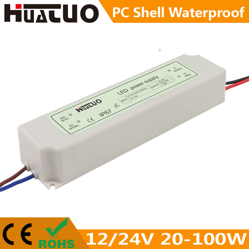 12/24V 20-100W constant voltage PC shell waterproof LED power supply