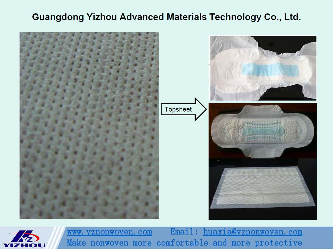 hydrophilic perforated pp spunbond nonwoven fabric for topsheet of baby diaper, sanitary napkins