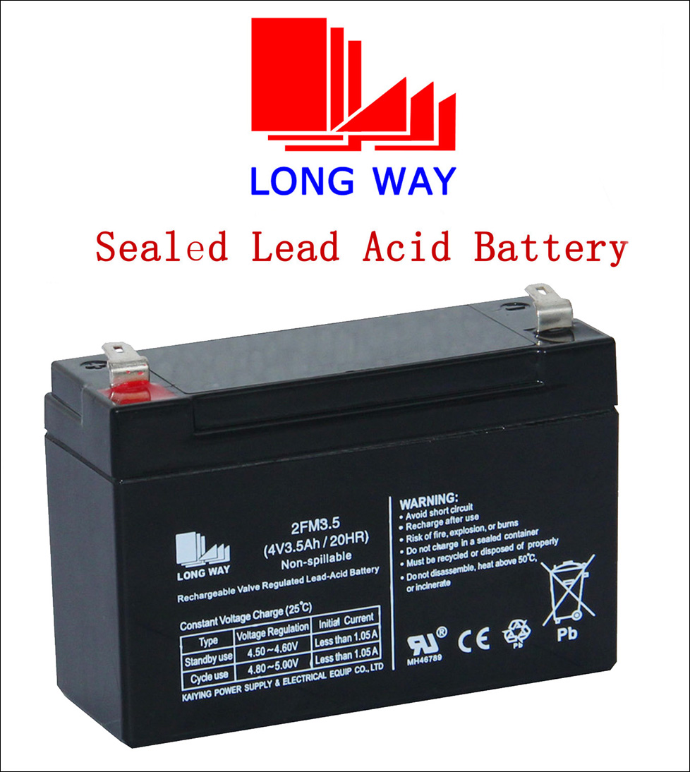 Rechargeable Valve Regulated Lead-Acid Battery Maintenance Free Battery 4V3.5