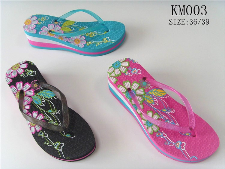 OEM logo flower printed ladies flip flops wedge platform beautiful slippers women