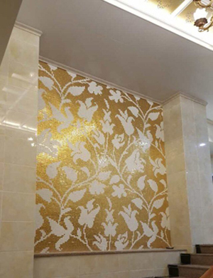 ZF-P33 flower gold and white glass mosaic tiles living room wall background wall design