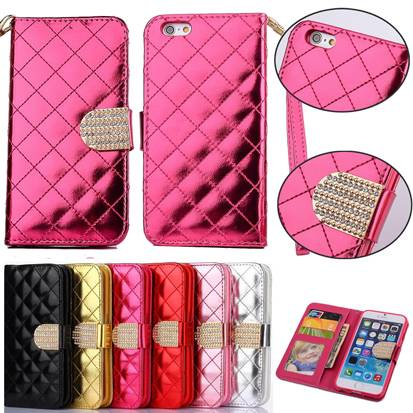 Rhinestone Buckle Leather Case Cover Plaid Pocket W/ Credit ID Card Slot for iPhone6 6S Plus IP6C124
