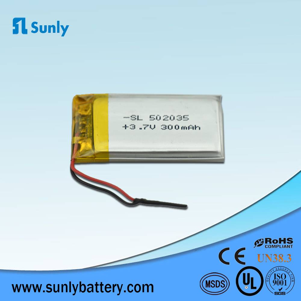 Model 502035 lithium ion battery 3.7V 300mAh li ion battery pack