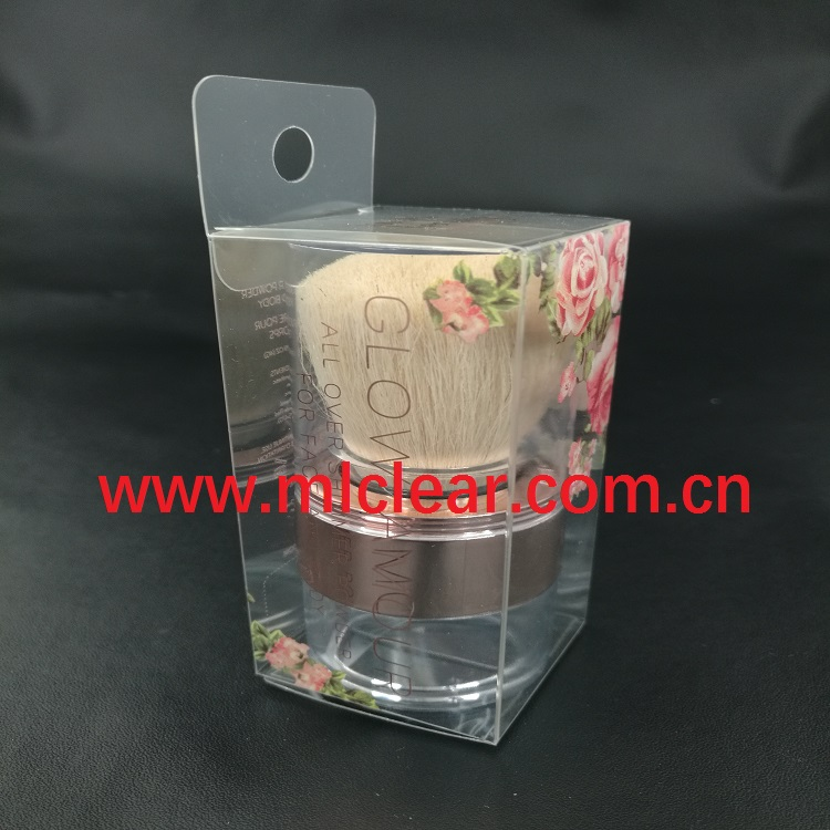 custom powder puff PET transparent packaging PVC plastic clear PP cosmetic folding color box