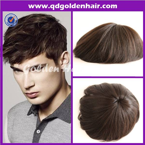 Golden Hair High Quality Remy Hair Toupees For Black Men