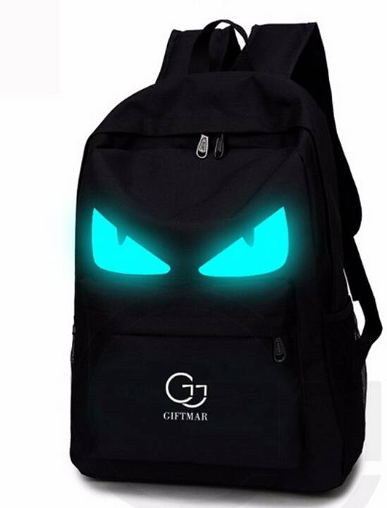 fashion unisex cartoon backpack Personalize Graffiti black backpack fashion daypack for boy and girl