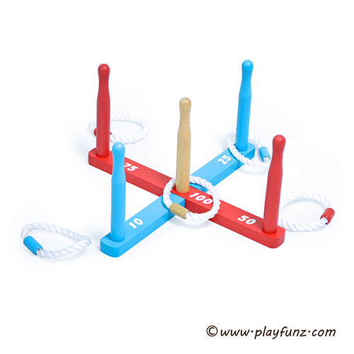 wooden ring toss set for outdoor toy and garden games