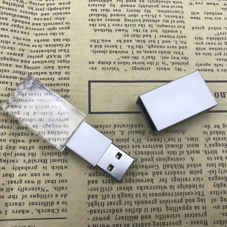 Custom Logo USB 3.0 or 2.0 Crystal Usb flash drives 4gb 8gb 16gb 32gb 64gb USB Flash Drives With Led