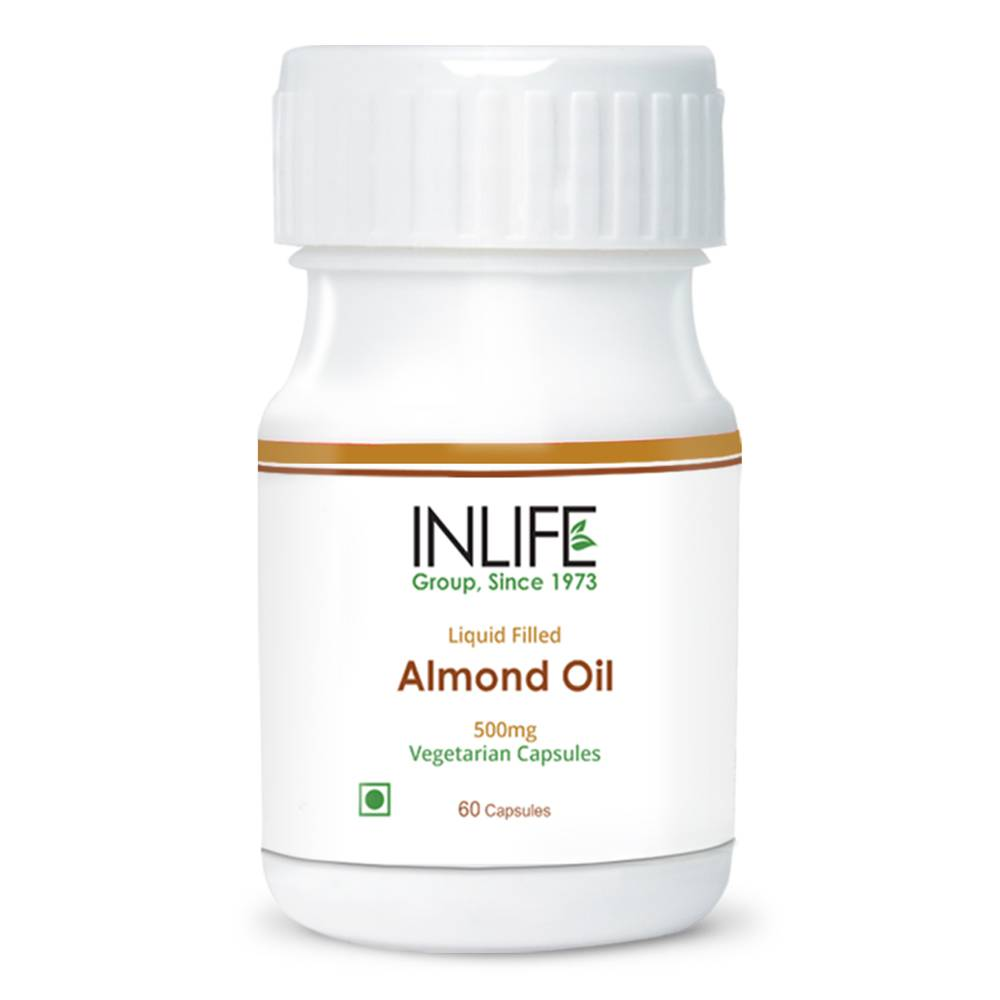 Almond Oil Capsules Liquid Filled Vegetarian Capsules Extra Virgin Cold Pressed Oil GMP Certified