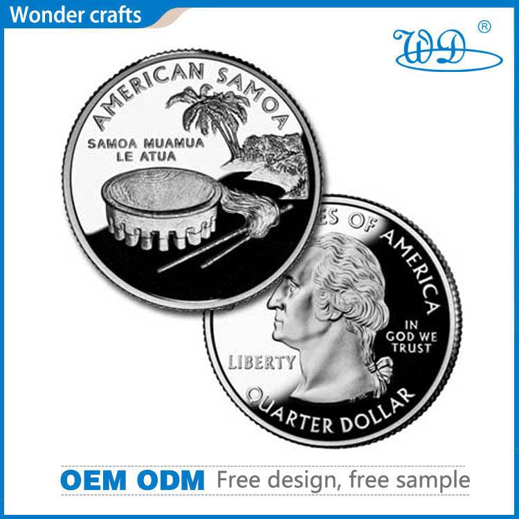 Wonderful die press embossed copper pure silver plating mirror finish samoa challenge coins