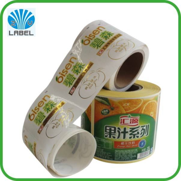 Custom waterproof durable juice bottle packaging label, printing company logo sticker