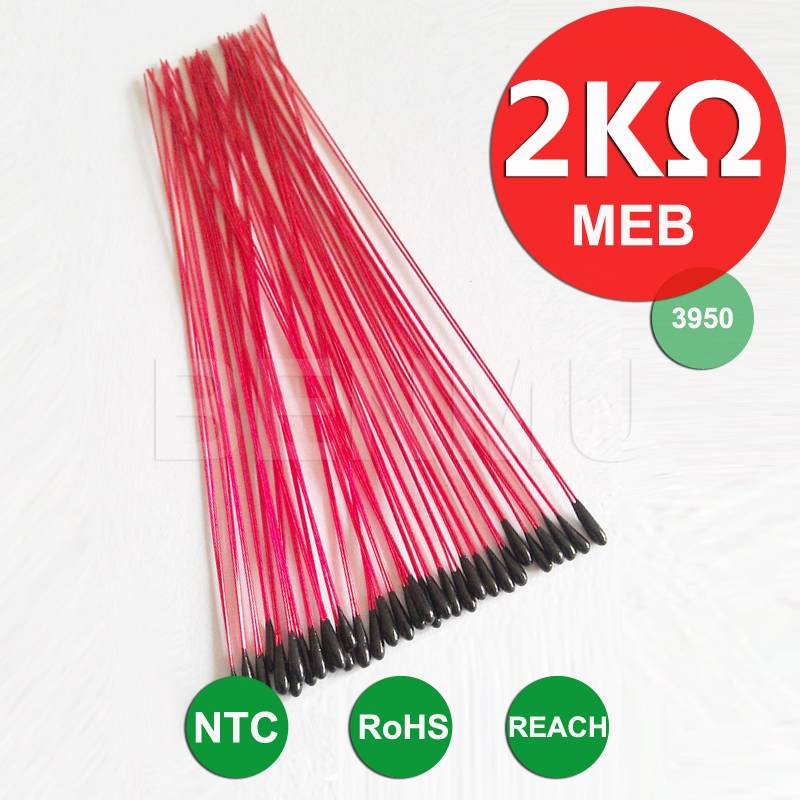 MEB 2K 1% 3950 70mm Epoxy resin NTC Thermistor thermal resistor of temperature miniature sensor+insu