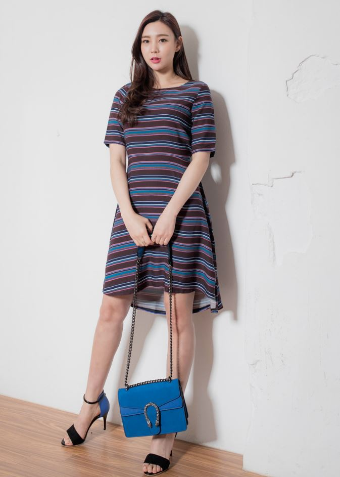 New high quality fashion Korean style Summer women Horizontal stripe pattern A-line dress