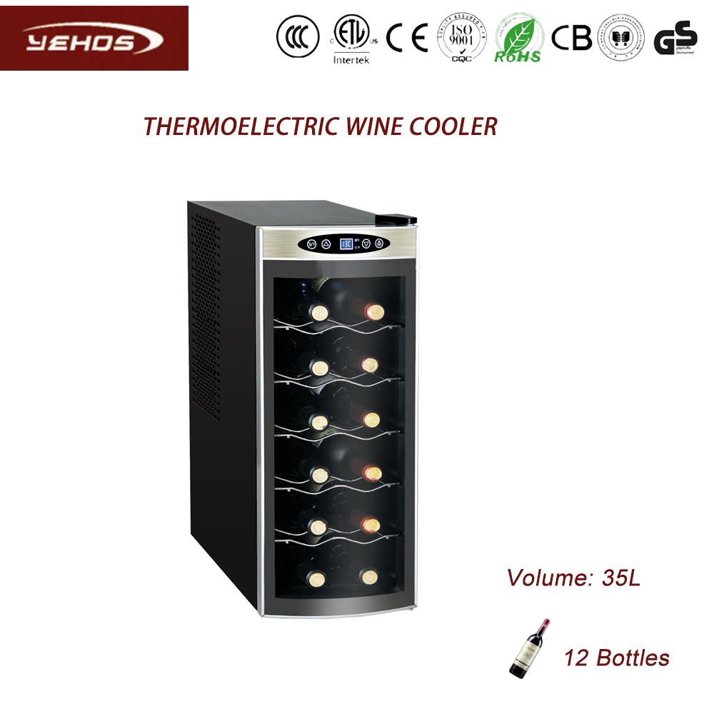 12 bottles capacity wine cooler with touch screen glass door
