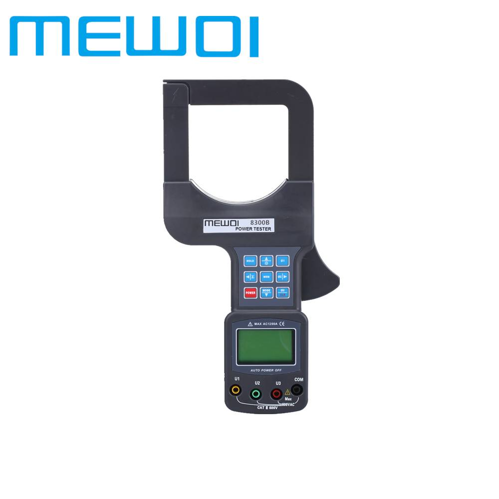 MEWOI8300B Large Caliber Three Phase Leakage Current AMP/VOLT Clamp On Power Tester