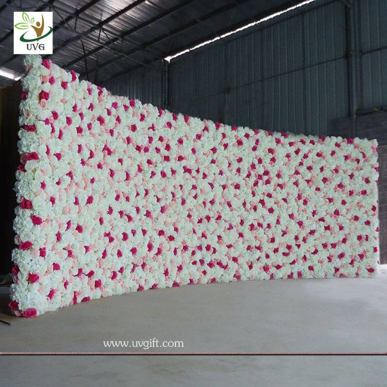 UVG 5m wide curved artificial flower backdrop wall in silk roses for wedding stage decoration