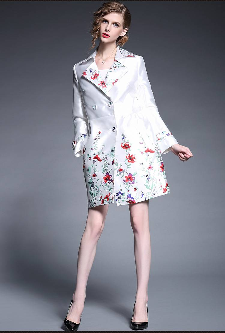 The new winter 2015 European loose printted flower middle long coat
