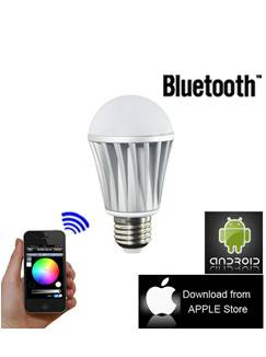 New RGB Bluetooth Controlled Dimmable Multicolored Smart LED Light Bulb 7W E27