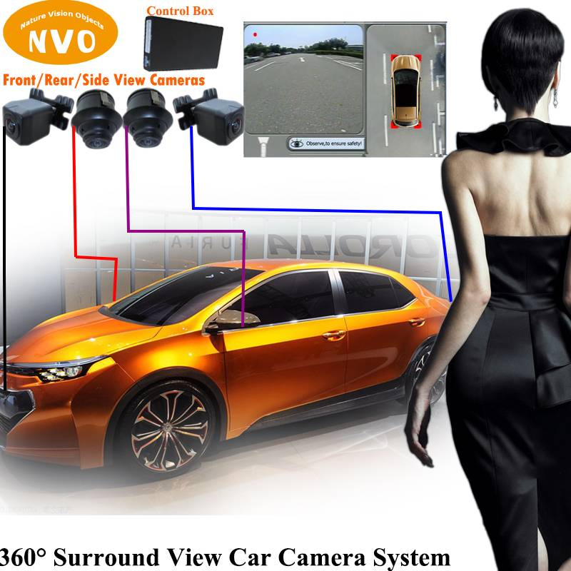 360 Degree Around View Bird's eye View Parking Aid with 4 HD Cameras Universal for All Cars