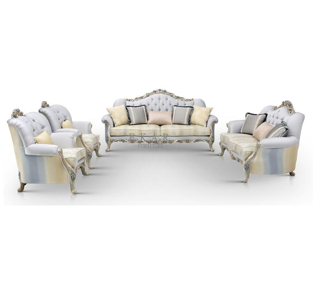 Carved Loveseat graceful fabric Sofa sets with Antique Silver Finish