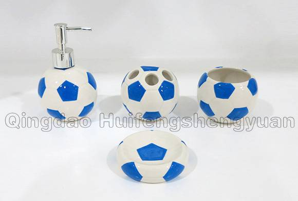 football shape handpainted ceramic bathroom set
