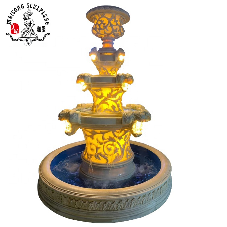 Factory handmade outdoor sandstone decorative garden water feature fountains with flowerpot