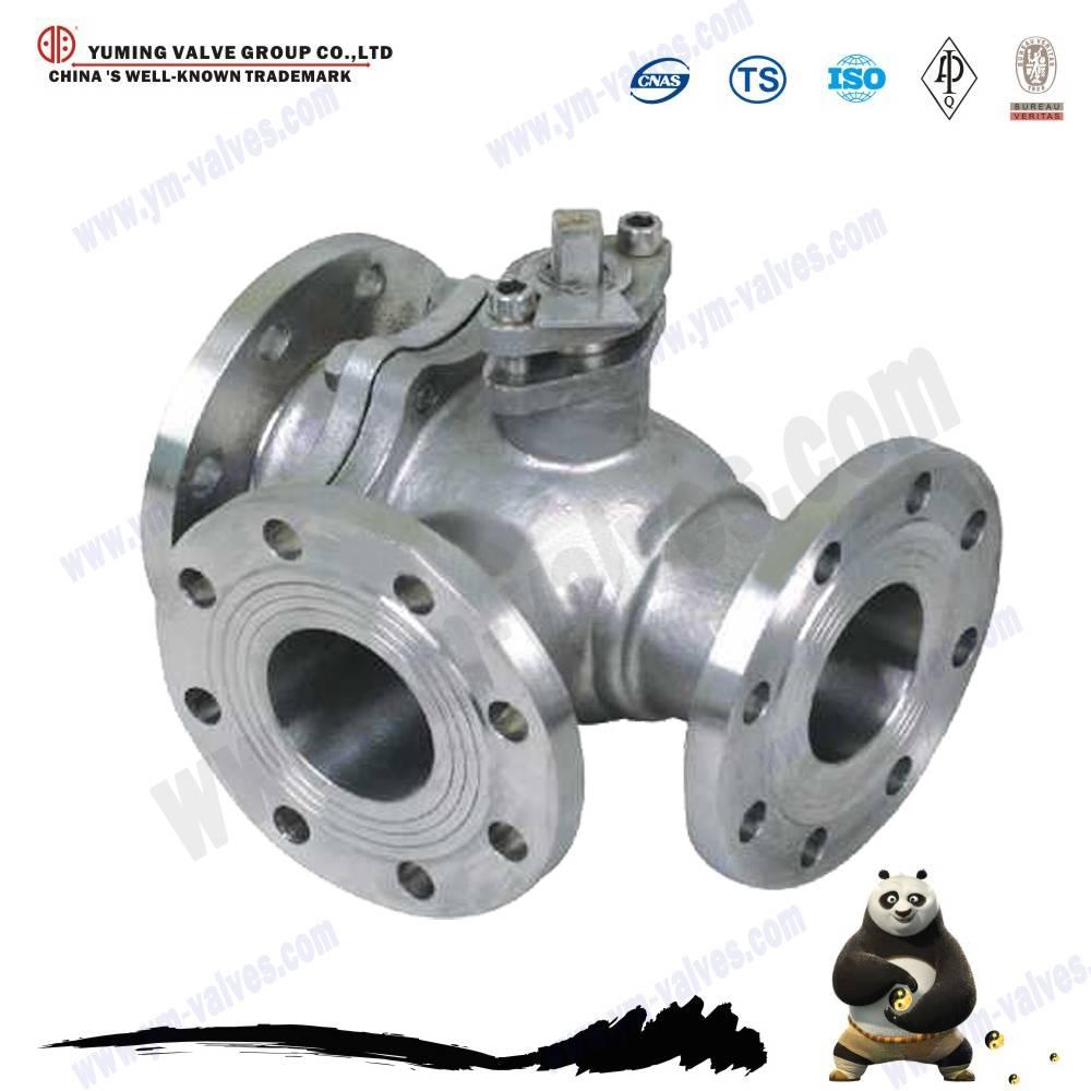 3 way cast steel tee flange ball valve