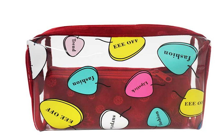 PVC Colorful Printing with Velvet Set Cosmetic Bag