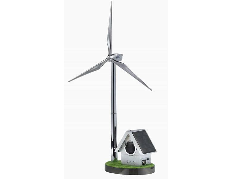 Custom solar powered windmill with Small House Radio Player model