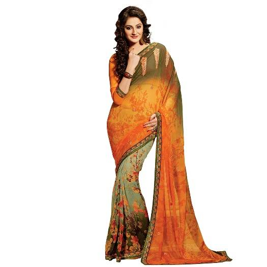 Shonaya Multicolour Georgette Embroidered Sarees With Blouse Piece