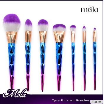 Mola 2017 create your own brand unicorn 7pcs sparking glitter makeup brush set