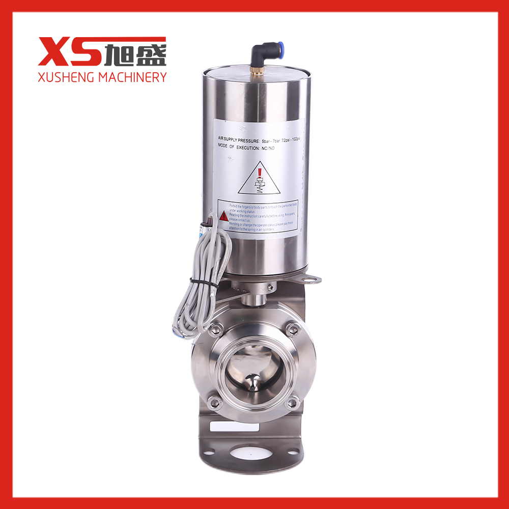 Trade Assurance SS304 Hygienic 3A/SMS/DIN Butt Welded Butterfly Valve With Pneumatic For Brewery