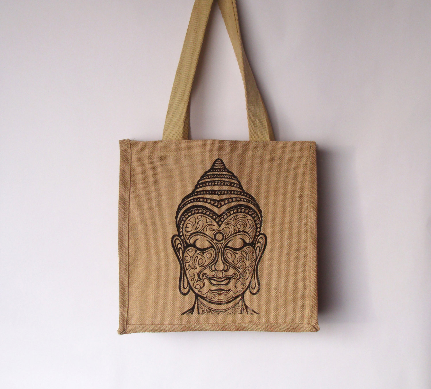 Buddha Jute tote bag, Yoga Jute bag, Buddha bag, Burlap tote, Hand screen printed bag, Shopping tote