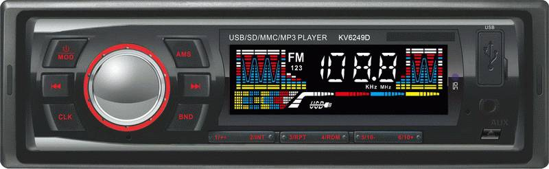 KV6249 Fixed Panel Car MP3 player with USB/SD Card