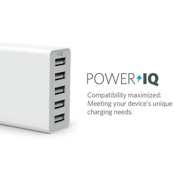 2016 Newest Intelligent Wall Charger with Quick Charge QC2.0 5 Port USB Charger with smart IC for Sm