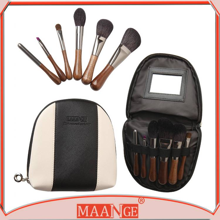 NAANGE beauty tool 6pcs goat hair cosmetic brush with portable cosmetic bag
