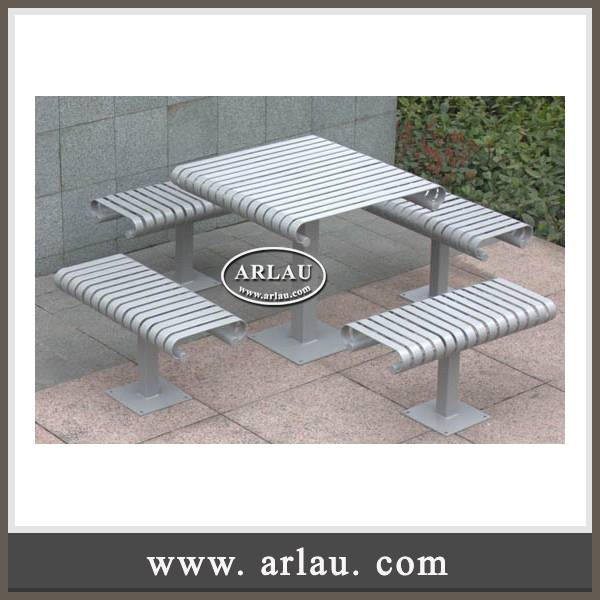 Arlau furniture outdoor, stainless steel table benches with powder coating