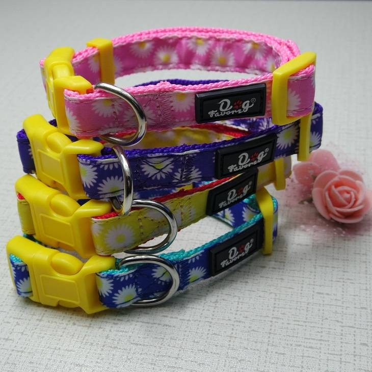 2016 Pet Collars Spring Blooming Floral Daisy Prints Adjustable  Dog Collars