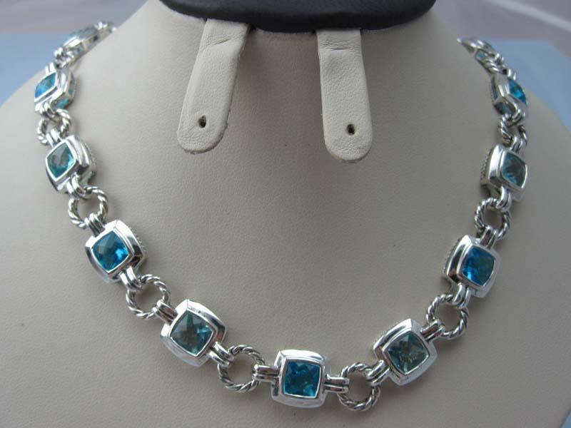 Sterling Silver Jewelry Blue Topaz CZ Link Necklace (N-024)
