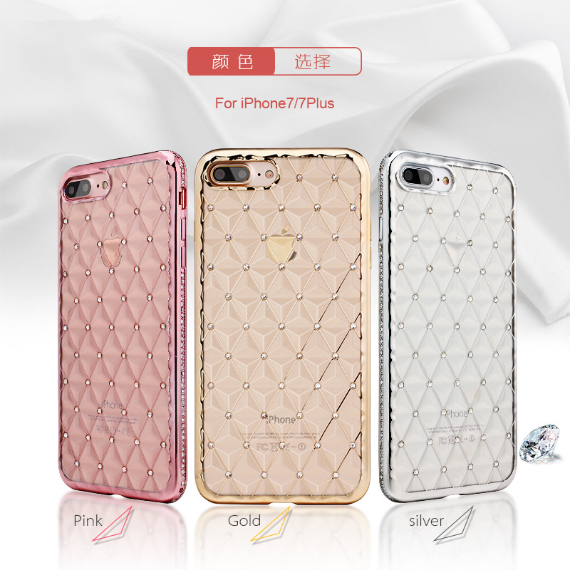 Luxury Diamond TPU Back Case Cover mobile phone cover for iPhone 7