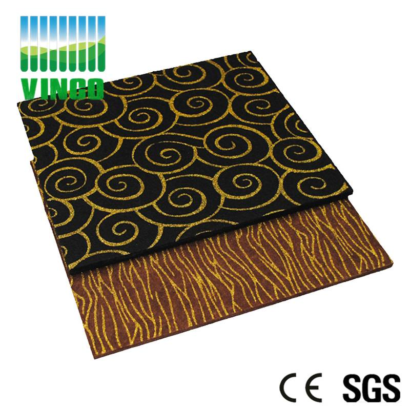 Polyester fiber panel of wide square embossed