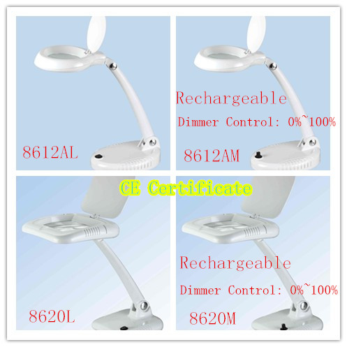 LED Lights Desktop Rechargeable Magnifying Lamp Magnifier Lamp (8612, 8620)