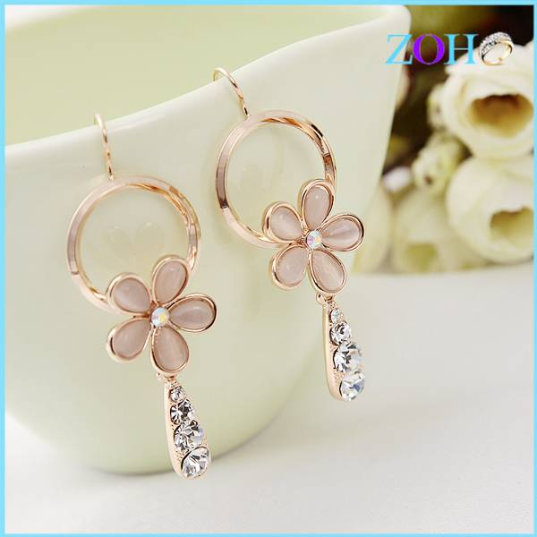 2016 charm elegant opal hook earrings in flower shape drop earrings for girls design