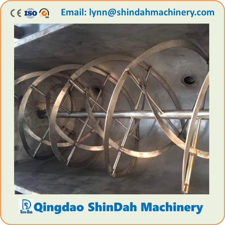 Horizontal Double Ribbon Mixer/Blender for Dry Powder, Putty, Modified Corn Starch, Real Stone Paint