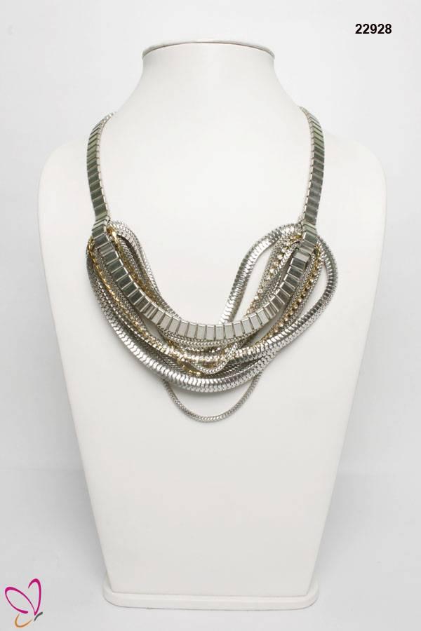 Silver Necklace, Metallic Necklace