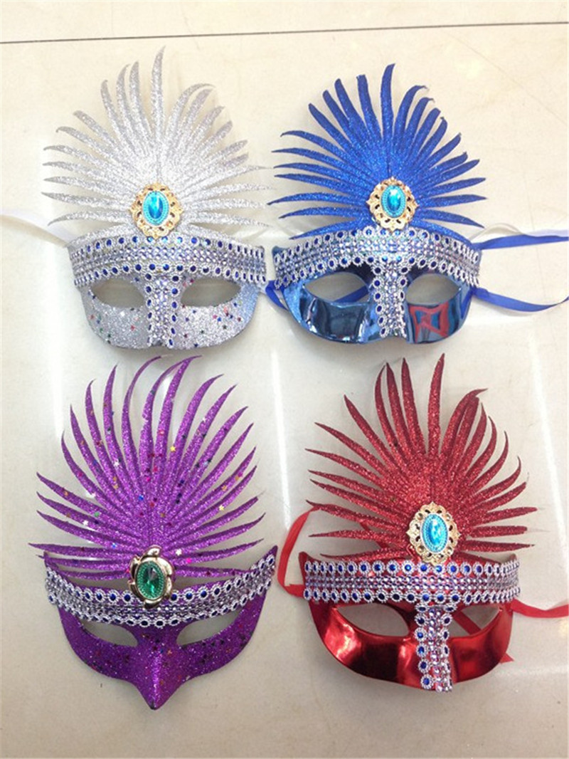Venetian Mask Christmas Masquerade Glittering Half Face Party Mask With Gemstone