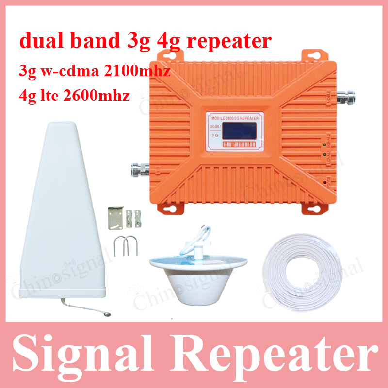dual band 3g 4g signal repeater for cellphone 3g w-cdma 2100mhz 4g LTE FDD 2600mhz booster amplifier