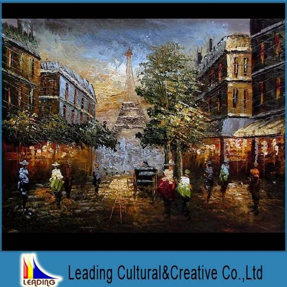 Paris building home decoration oil painting on canvas