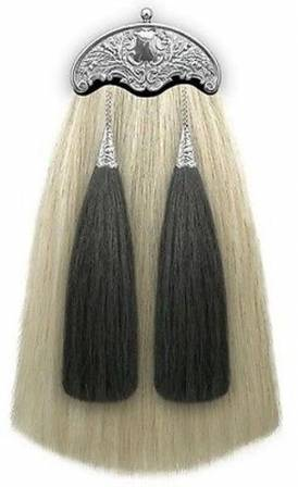 Scottish Sporran Dress Horse Hair White Black Tassels Thistle Cantle
